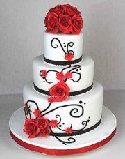 ... Hochzeitstorten in Schwarz oder Schokobraun, Weiß und Rot: White And