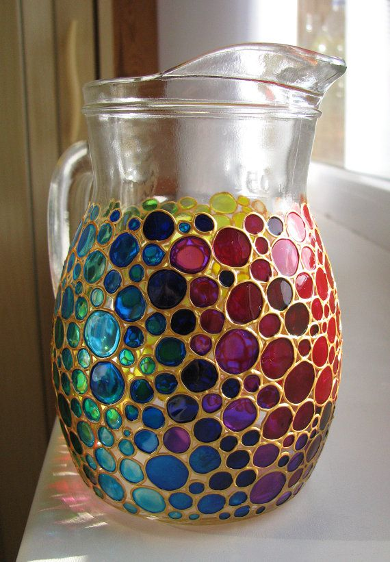 Hand painted Glass Pitcher Jug Coloured Bubbles by ArtMasha