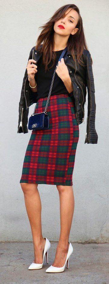 Tartan pencil skirt look