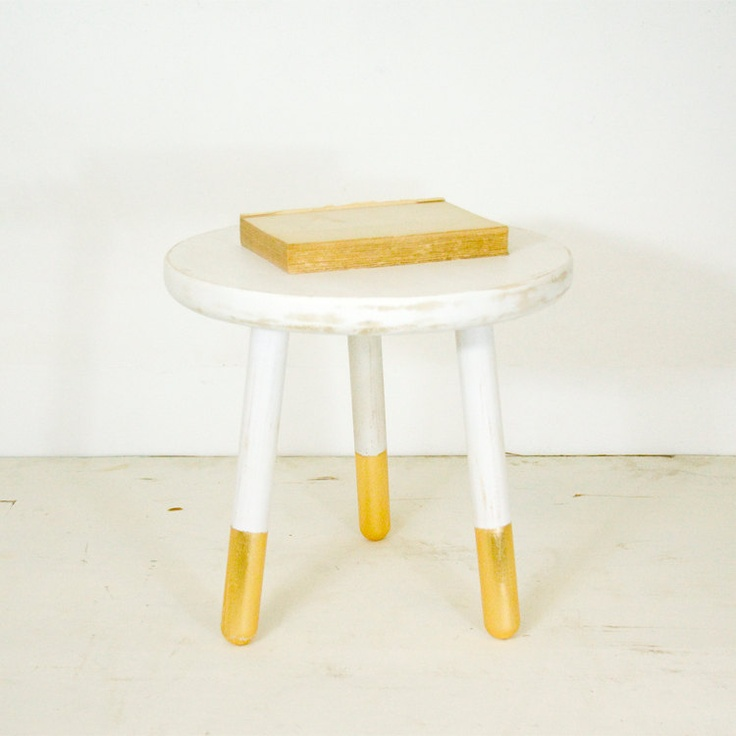 Milking Stool With Gold Leafed Feet. $125.00, Via Etsy.