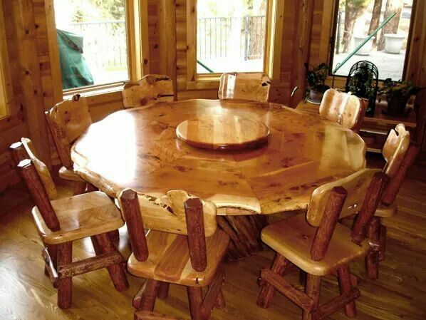 Round Table Log Furniture Dining Room Furniture