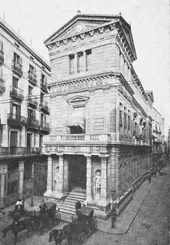 Antiguo Casino Mercantil El Bolsín, 1890. Situado en la plaza de la Verónica de Barcelona, y actual sede de la Escuela Superior de Diseño y de Arte Llotja.