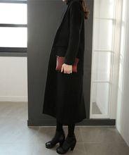 Новый Женский Шерсть Длинное Пальто Свободные Прямые Черные Прилив Пальто Верхняя Одежда Хаки Хлопок Утолщение 9195(China (Mainland))