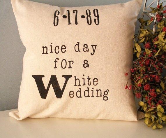 wedding pillow gift: Crafty Stuff, Wedding Pillows, White Wedding, Gifts Ideas, Gift Ideas, Anniversaries Ideas, Wedding Day, Cute Ideas, Billy Idol