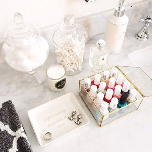 Bathroom counter accessories and containers