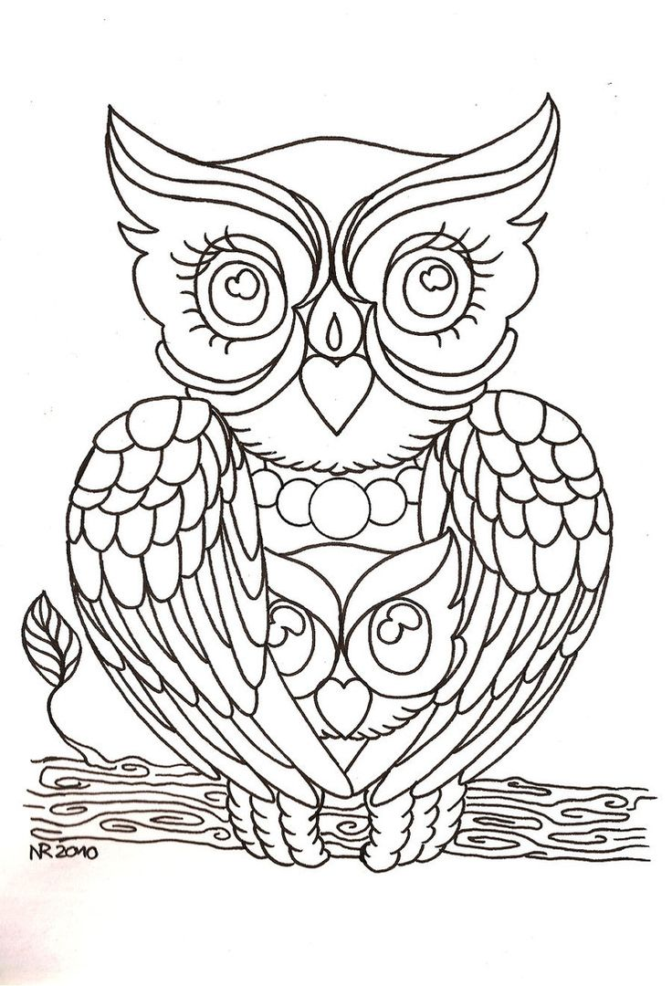 Coloring book outlines - Mama Owl