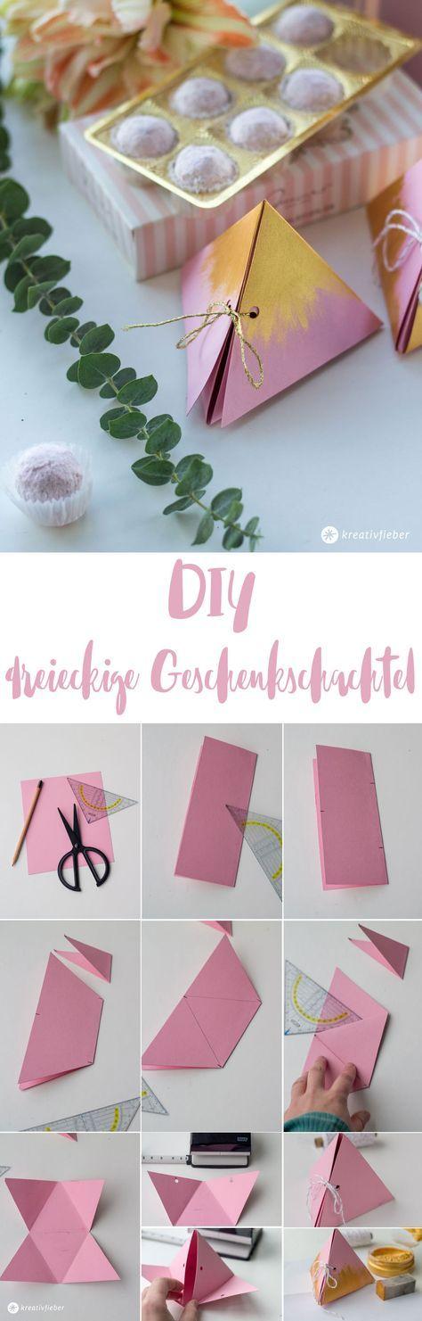 DIY dreieckige Geschenkschachtel falten - schöne Verpackungsidee - kleine Geschenke verpacken - Basteln mit Papier