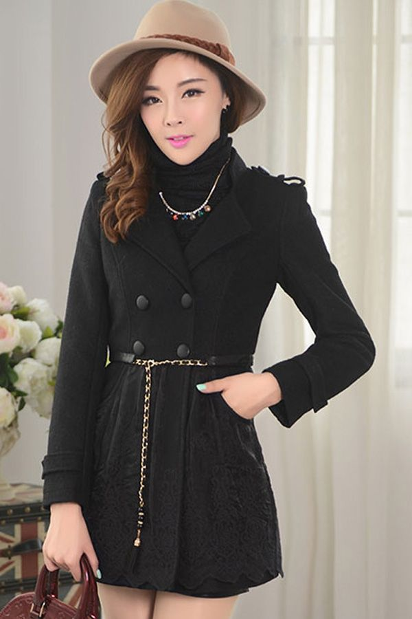 Lace Patched Double-breasted Coat - OASAP.com