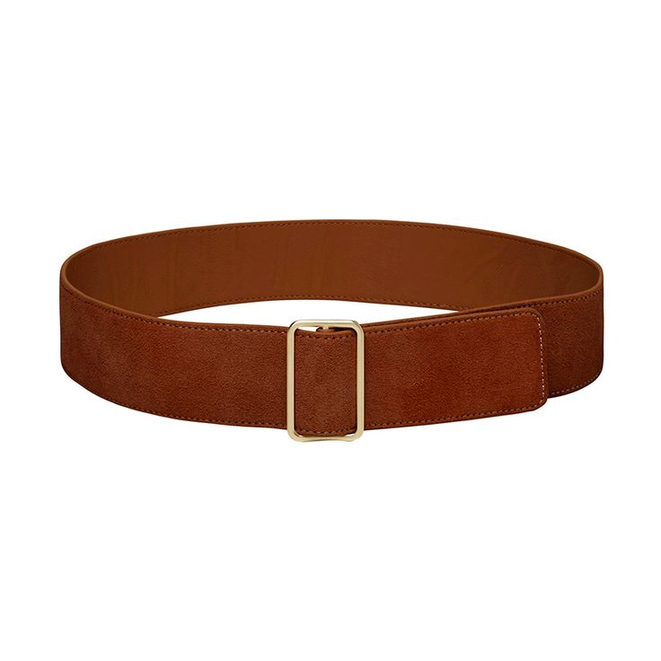 Suede belt with oversized buckle. Sizes SM and ML. Leather.