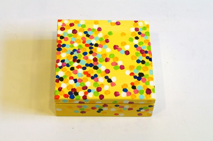 Modern jewelry box - Painted trinket box - Earring box - Jewelry storage - Wood jewelry box - Modern design box - Unique gift for her -Treasure box - Wood box Yellow