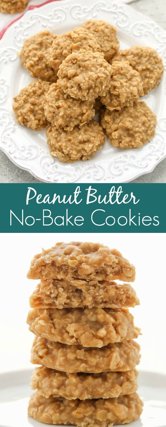 These Peanut Butter No-Bake Cookies are full of pe…