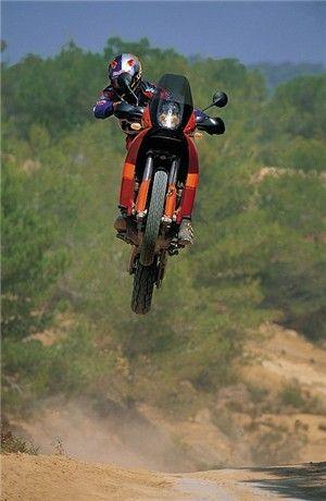 KTM in flight. Proper adventure bike. Wish I could ride mine like this. thefunbiker.com