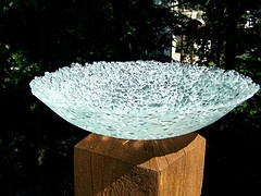 """fused glass bowl from recycled shower door. I could have done this with the shattered pyrex dish I """"created"""" last year ."""