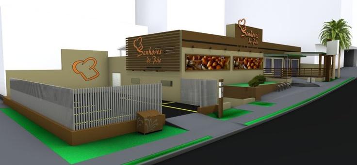 Projeto de fachada com deck de madeira, letra caixa, estrutura metálica com banner, adesivos e placas de sinalização por COLA design Comunicação Visual Curitiba Paraná