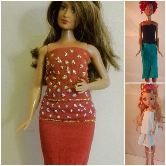 Kleider, Röcke und Shirts für Barbie & Co - aus Kinderstrumpfhosen   Bastelfrau