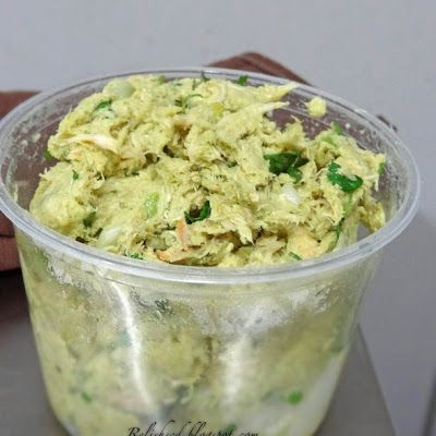 Avocado Chicken Salad I used half an avocado, one can chunk white chicken, one boiled egg, and a little mayo and mustard to hold it all together. If your avocado is ripe enough you don't need the mayo/mustard but mine wasn't creamy enough. Delish and lots of protein.