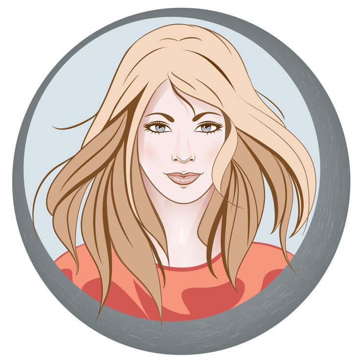 My vector round portrait of girl with long wavy hair