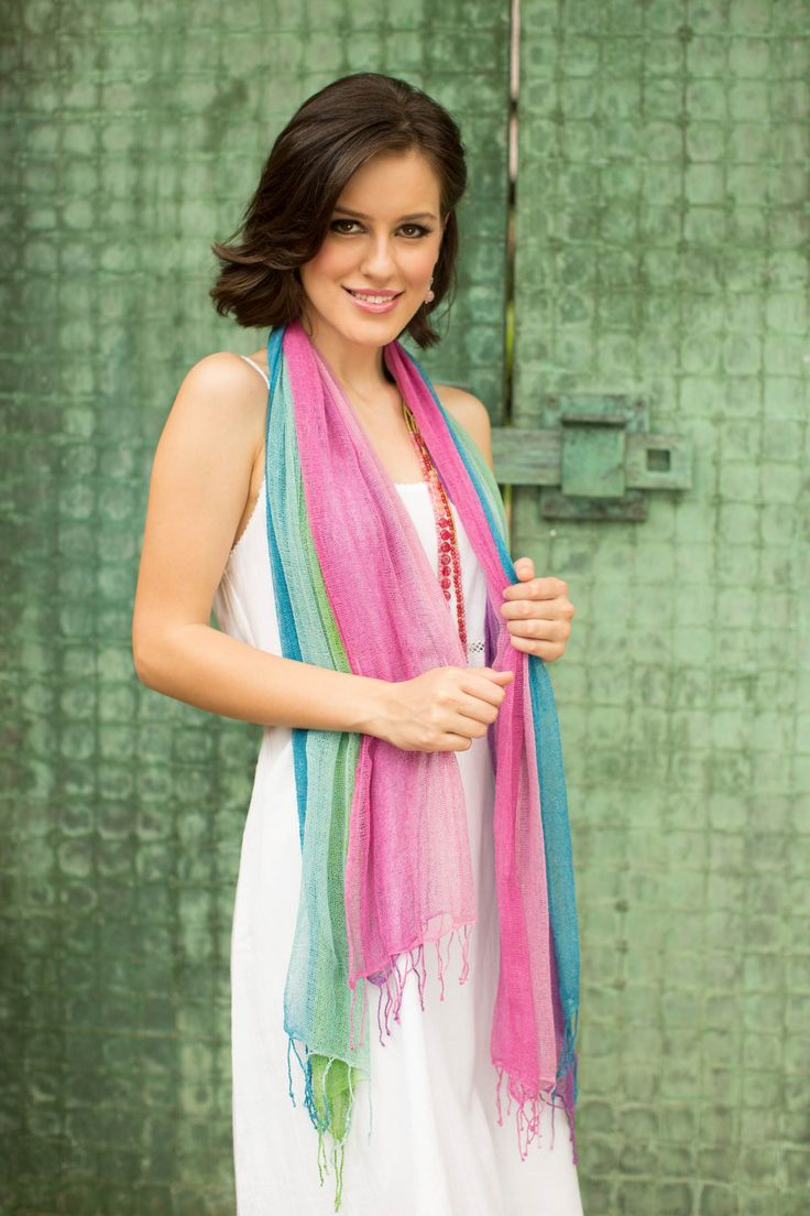 Handcrafted Raw Silk Scarves in Pastel Shades (pair) - Breezy Spring   NOVICA