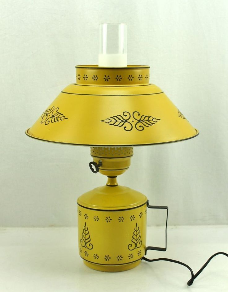 Vintage Yellow Metal Tole Electric Table Wall Sconce Light Hurricane Lamp Retro Vintage ...