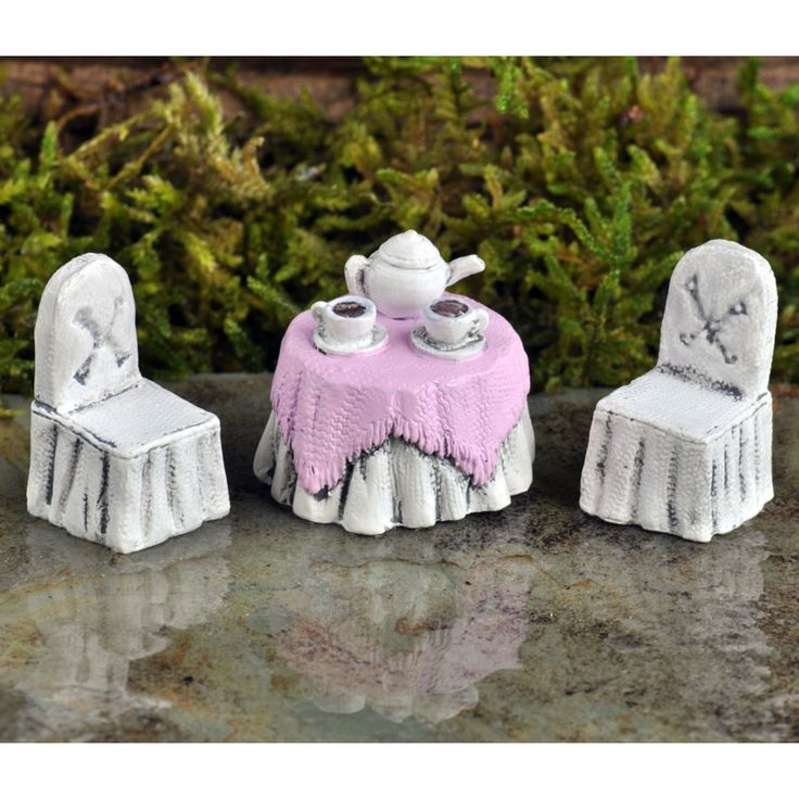 MICRO TEA PARTY SET - This sweet 3 piece Micro Tea Party set is designed for the tiniest of fairy friends. Imagine the micro world possibilities and the squeals of excitement when you add this to your magical world.  Visit our online store for fairy garden ideas, inspiration and advice.   #fairygardeningaustralia