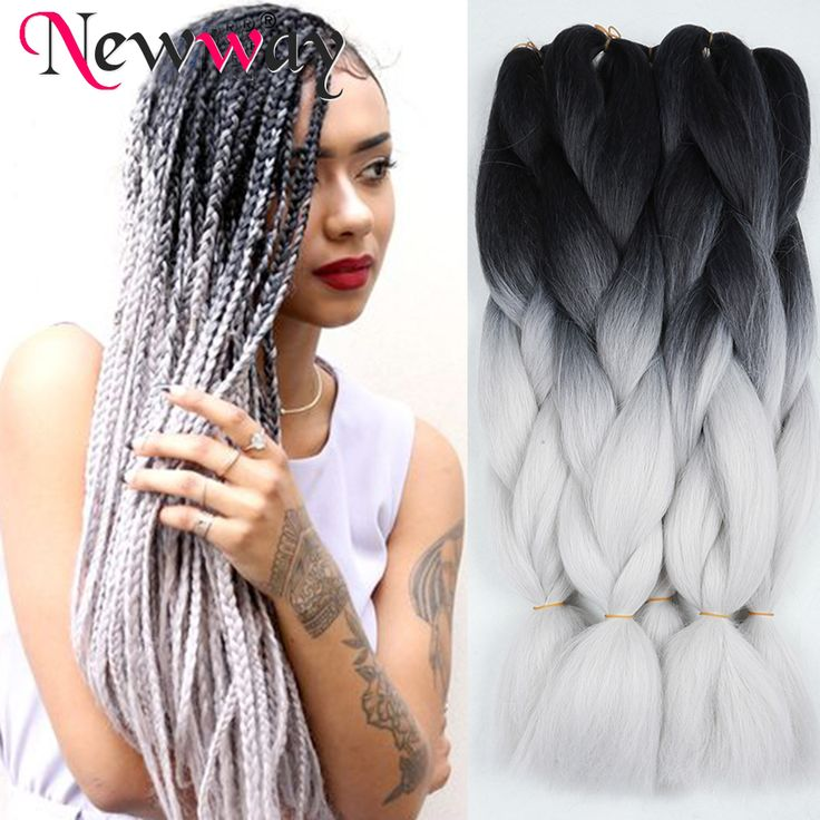 ombre kanekalon braiding hair two tone black grey braiding hair extension synthetic crochet box braids hair jumbo purple colors
