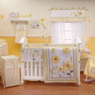 Yellow And White Flower Appliqued Nursery Baby Girl Bright Crib Bedding Set  In Baby, Nursery Bedding, Crib Bedding