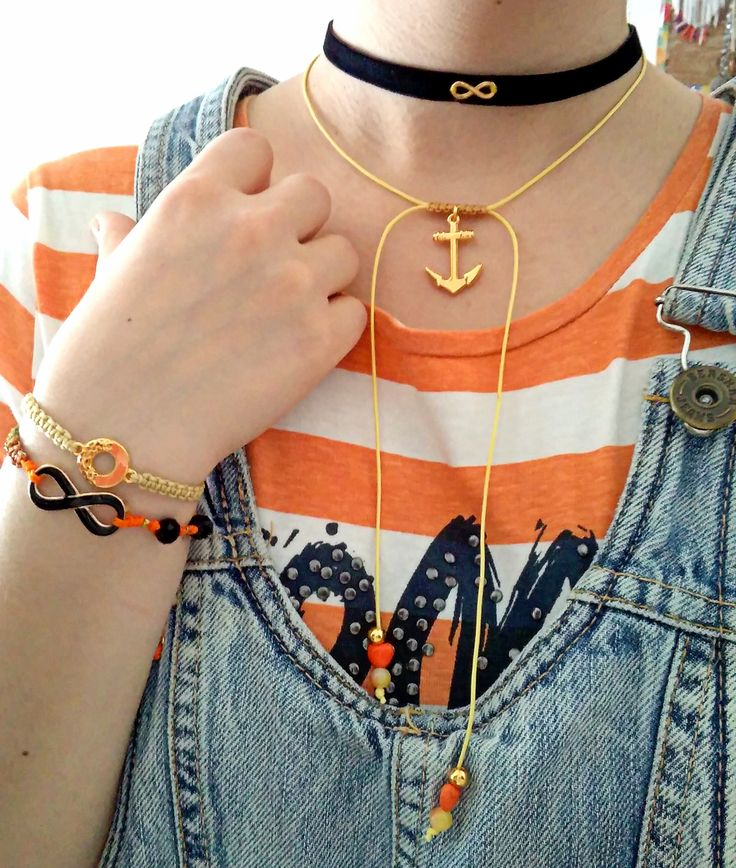 black, golden & orange handmade accessories τσόκερ κολιέ, κολιέ με επίχρυση άγκυρα, βραχιόλια μακραμέ #choker #black #velvet #infinity #anchor #orange #makrame #necklace #bracelets #handmadegreece https://www.facebook.com/SophiesworldHandmade/