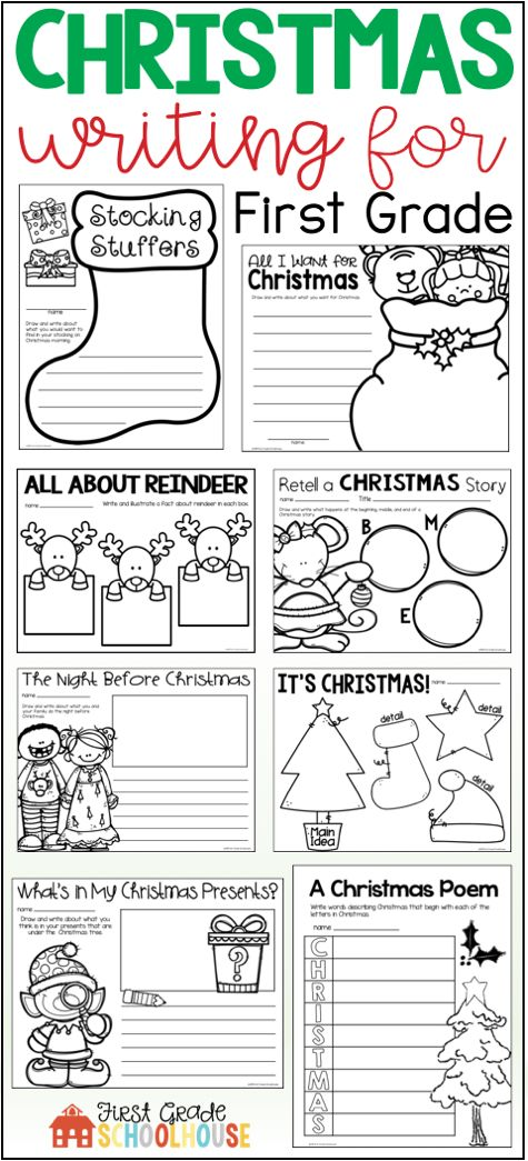 Christmas Writing for First Grade is the perfect packet to engage your students in a variety of December holiday writing activities and booklets. The Christmas writing topics include Santa Claus, reindeer, North Pole, family holiday traditions, story structure, poem and letter writing, sentence writing, response to Christmas literature, and more.