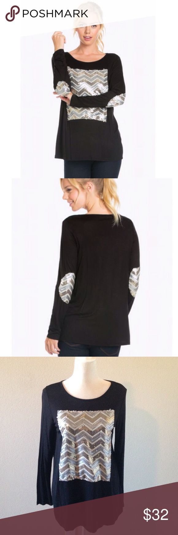 """Chevron sequin top Black long sleeve with multi color sequin patch on the front and the elbows. Perfect for fall  rayon and spandex material. Made in USA. Measurements. Small Bust 18"""" Length 26 1/2"""". Medium Bust 19"""" Length 27 1/2"""" Large Bust 20"""" Length 28 1/2"""" These beauties are New without tags as they come straight from the wholesaler. Tops Blouses"""