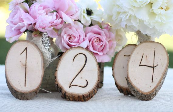 Rustic Table Numbers Tree Slices Natural Garden Shabby Chic Wedding Decor SET of 12