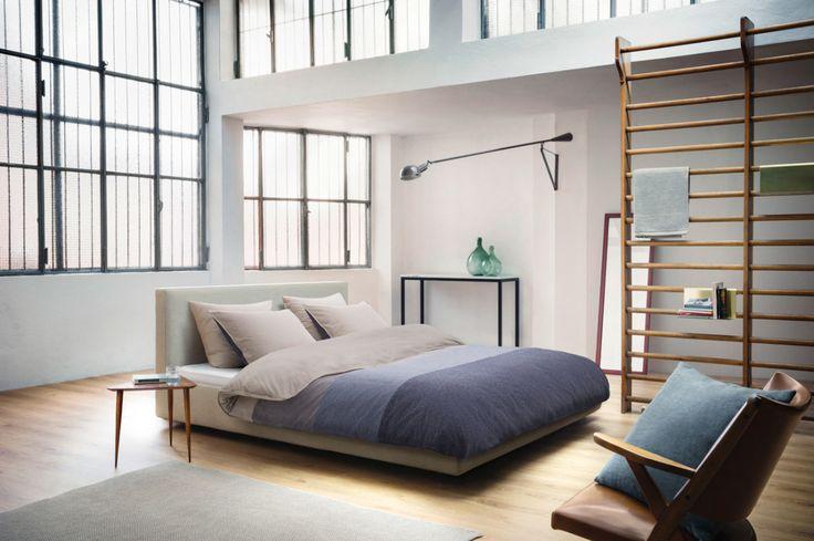 Ausgefallene Einrichtungsideen - Sprossenwand im Schlafzimmer und Bettwäsche