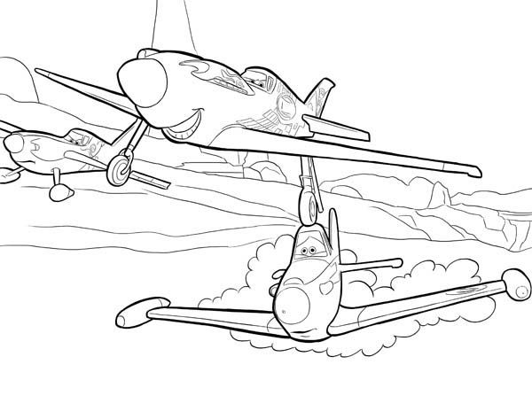 Disney Planes Coloring Pages : Ripslinger surpass dusty on the race in disney planes