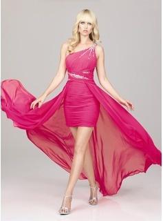 Sheath One-Shoulder Asymmetrical Chiffon  Charmeuse Homecoming Dresses With Ruffle  Beading (022011251)