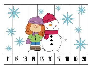 Free-6 Winter Number Order Puzzles