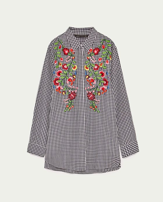 Image 8 of EMBROIDERED GINGHAM SHIRT from Zara