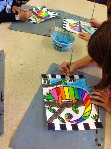 Color It Like you MEAN it!: 4th grade chameleon pattern paintings