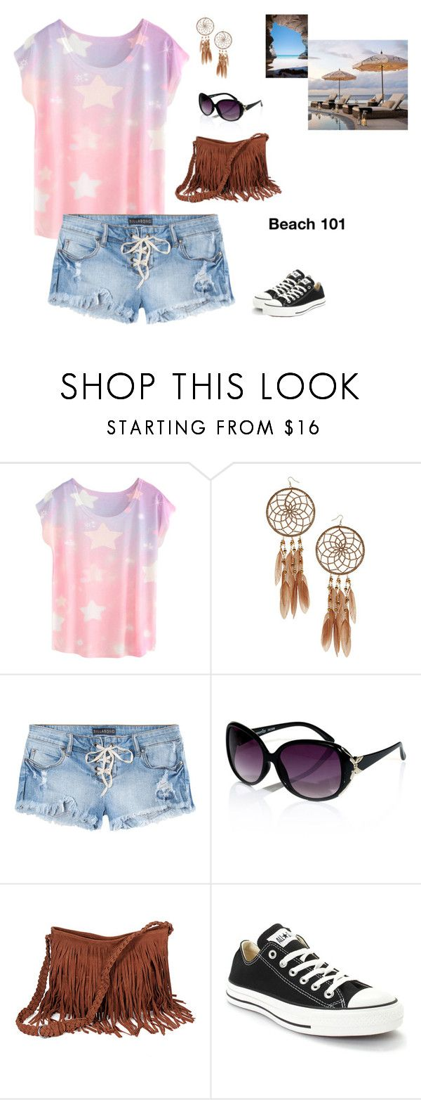 """""""Beach 101"""" by huntress-383 ❤ liked on Polyvore featuring Miss Selfridge, Billabong, Accessorize, Converse and Pottery Barn"""