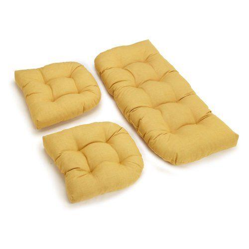 Blazing Needles Outdoor Wicker Settee Cushions - Set of 3 - Outdoor Cushions at Hayneedle