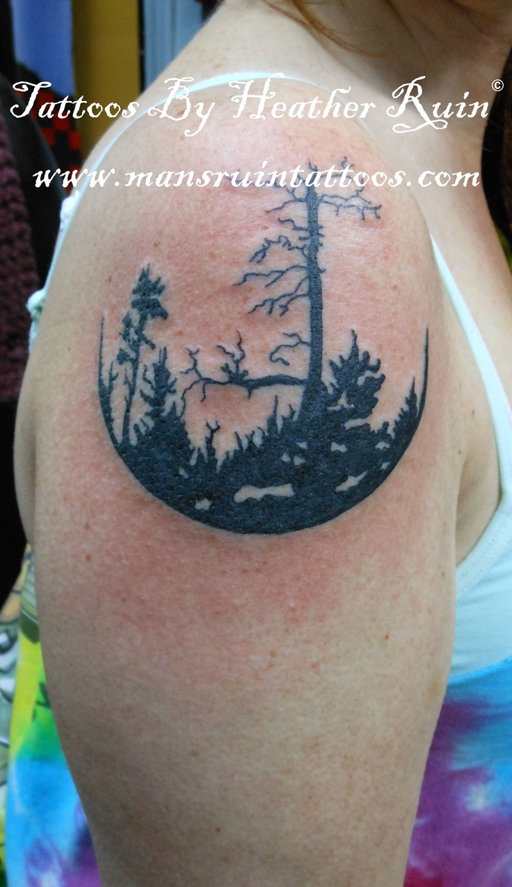 Trees tattoo by heather ruin mans for Asheville nc tattoo