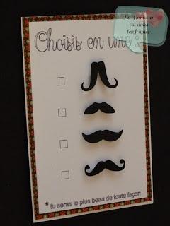 """Le Bonheur est dans le Papier: Série Cartes Masculines : n°2 """"Black Moustaches"""""""