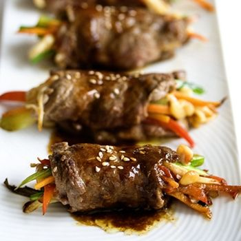 Flank steak roll ups stuffed with veggies. You could do this with flattened chicken breasts as well.