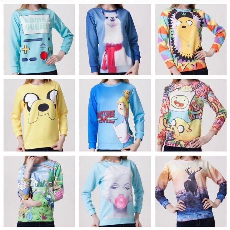 Womens Sweater Hoodies AdventureTIME Sweatshirt Pullover Cartoon Coat Sport Tops #Ontop #SweatshirtCrew