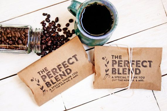 unique wedding favor ideas - coffee grounds the perfect blend