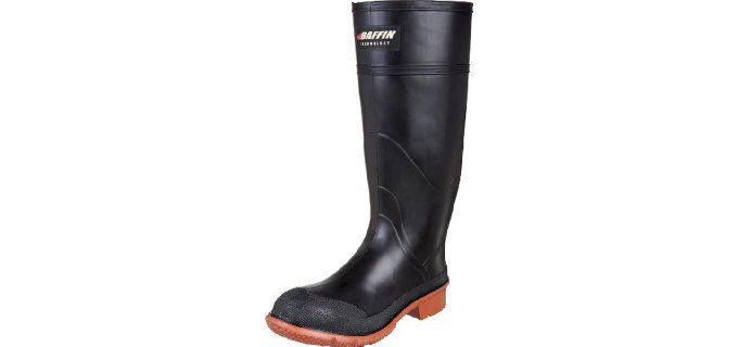 Baffin Men's Tractor Canadian Made Industrial Rubber Boot.  It is recognized as the ideal working boots for the agriculture sector. It is lightweight, waterproof, flexible, and durable.  It has treaded outsole to maintain secured footing while working very hard.  It is a rubber boots designed to tackle most extreme situation and environments. Baffin boots are known to have unique design where the sole and midsole are moulded together at the base offering good grip and balance.