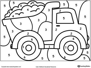 **FREE** Color By Number Truck Worksheet. Printable color by number coloring pages. Perfect for preschoolers to help them develop eye-hand coordination, practice their colors and learn to follow directions.
