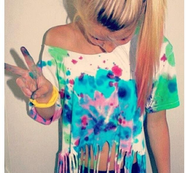 Splatter dyed cut up T-shirt