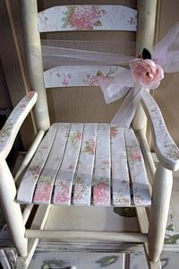 Love this little #shabby #chic inspired #child sized #rocking #chair - I have one from my childhood just like this my sister repainted, and I'm looking to give it a new look - great inspiration! #pastel #flowers #pink - perfect with the #tulle #bow and #rose as well - nice seat for a #doll or #flower #arrangement - opheliasgarden via tumblr - #painting #crafts #decor tå√