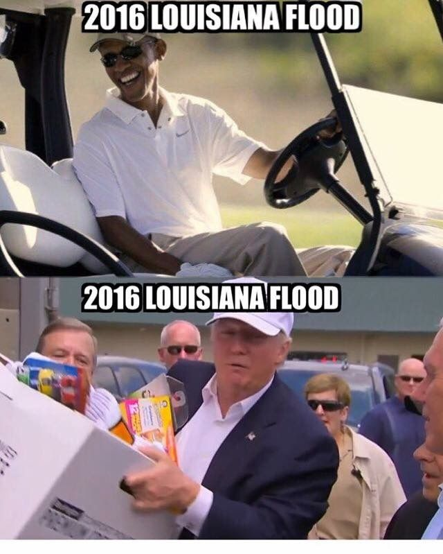 Trump helps Louisiana while Obama is off