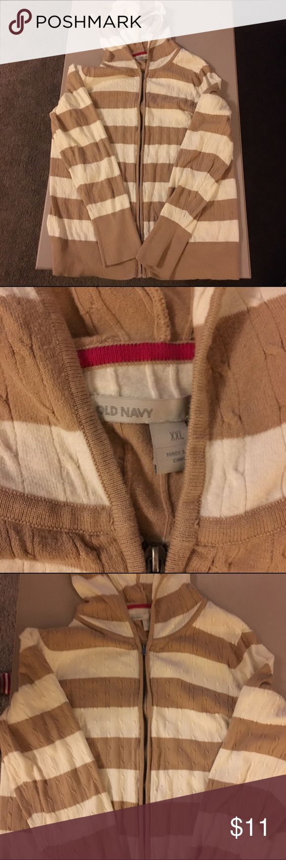 Old Navy XXL zip up sweater Old Navy XXL zip up tan and cream stripes, hooded, super cute and cozy. Sfpf home Very good preowned condition. Old Navy Sweaters