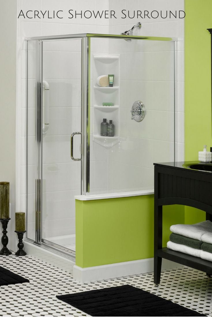 acrylic shower surrounds are easy to clean and can even have tile or stone patterns